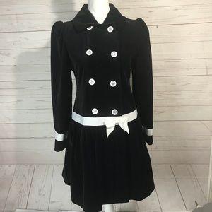 American Girl   Double breasted Black Velvet Coat